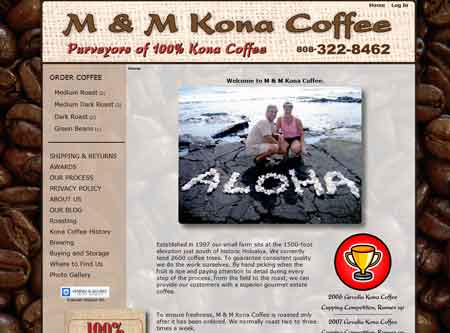 M & M Kona Coffee e-commerce website