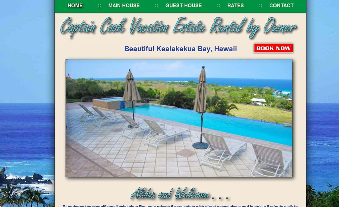 Captain Cook Vacation Home website