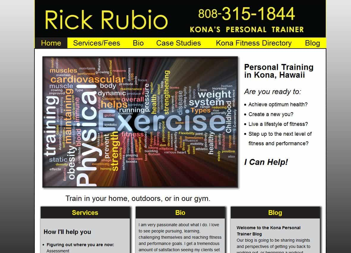 Rick Rubio, Personal Trainer website