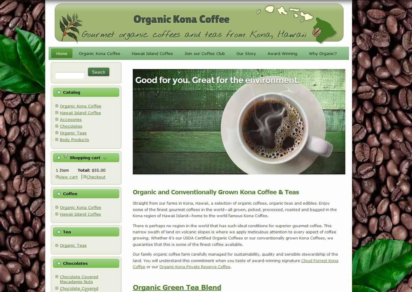 Organic Kona Coffee online store