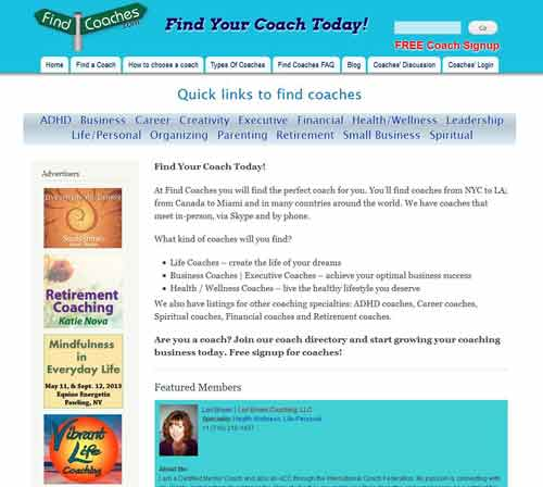 Find Coaches web directory