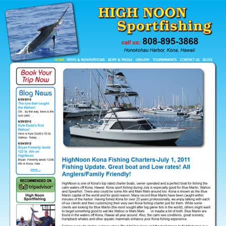 Custom fishing charter website