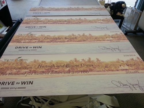 Large printed checks on foam core