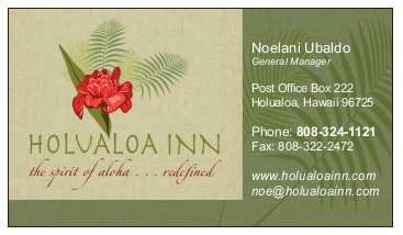 Bed and breakfast business card