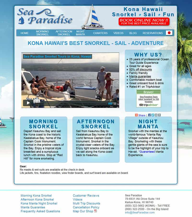 Snorkel and sailing website