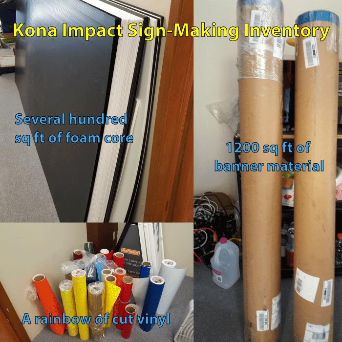kona impact sign making inventory