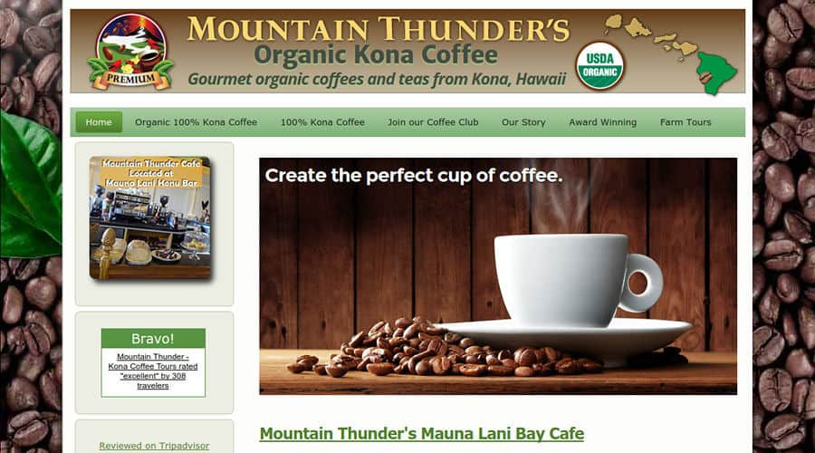 Mountain Thunder coffee e-commerce online store