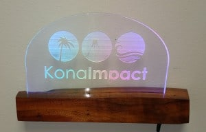 Lighted Koa and Acrylic floating wall sign