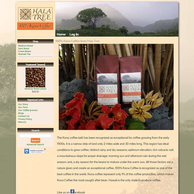 Hala Tree coffee e-commerce online store website