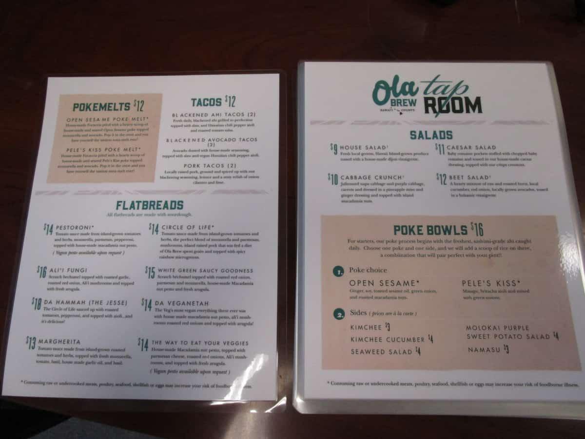 ola brew hot laminated menu