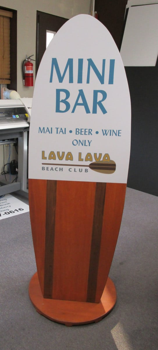 vinyl on wood bar sign