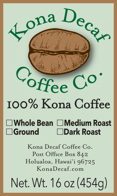 kona decaf bag label